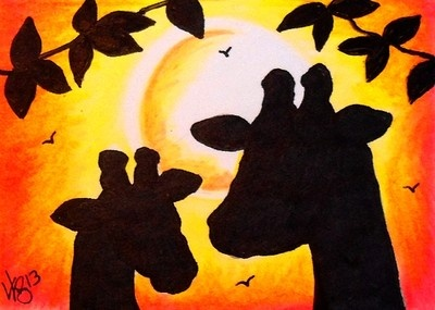 "Aceo Original ""GIRAFFES AT SUNSET"" ON EBAY"