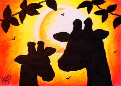 "Aceo Original ""GIRAFFES AT SUNSET"" ON EBAY"