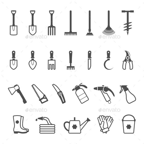 Set of Garden Tools - Man-made Objects Objects