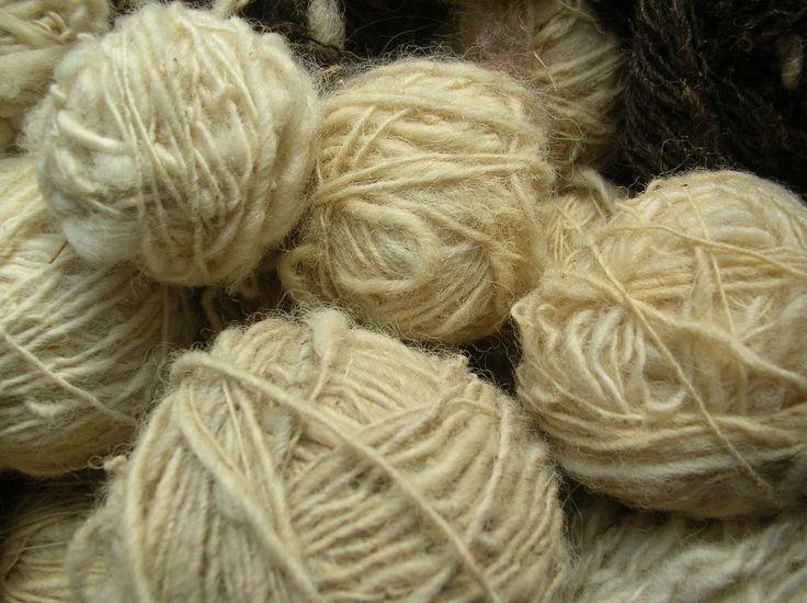 Hand-spun yarn made from coarse Connemara Mountain Blackface Wool