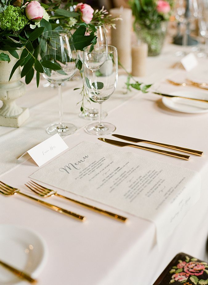 Cloth Wedding Menu at Borris House captured by Brosnan Photographic, styling by Pearl & Godiva