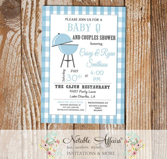 Baby Blue BBQ Baby Q baby shower couples shower on Baby Blue Gingham - diapers and brews - light baby blue color can be changed by NotableAffairs