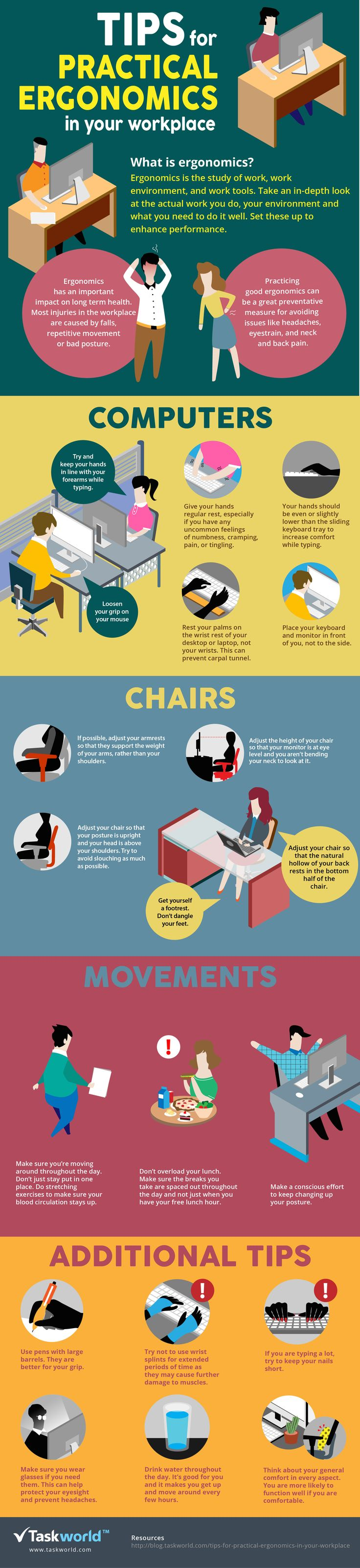 tips for practical ergonomics in your workplace infographic