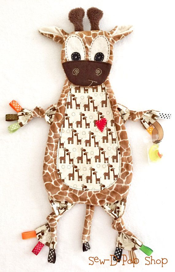 Baby Lovey Tag Blanket Giraffe Binkie Lovey Toy by SewDPopShop