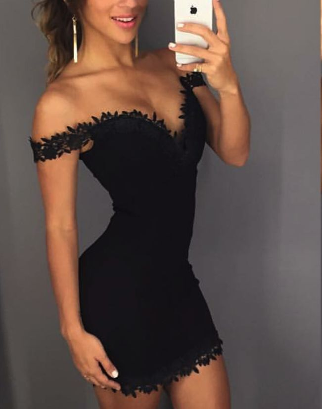 Pam Black Off Shoulder Lace Cocktail Dress