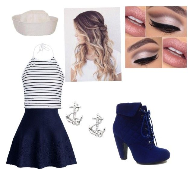 """Sailor costume"" by sutton-button on Polyvore featuring Chicwish, Ally Fashion, FOSSIL and Bamboo"