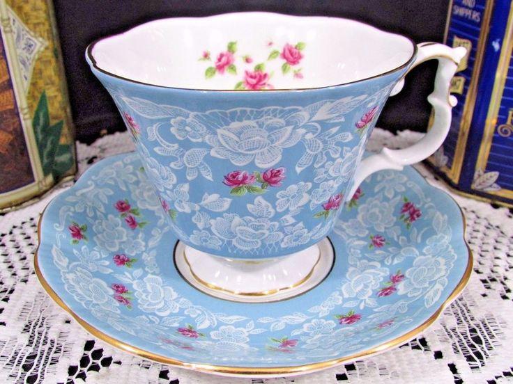 ROYAL ALBERT TRUE LOVE PINK ROSES WHITE LACE SKY BLUE TEA CUP AND SAUCER | Antiques, Decorative Arts, Ceramics & Porcelain | eBay!