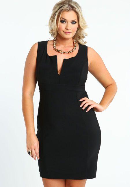 Plus Size Tailored Little Black Dress, BLACK, large