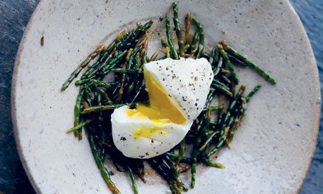 Marsh samphire with poached eggs