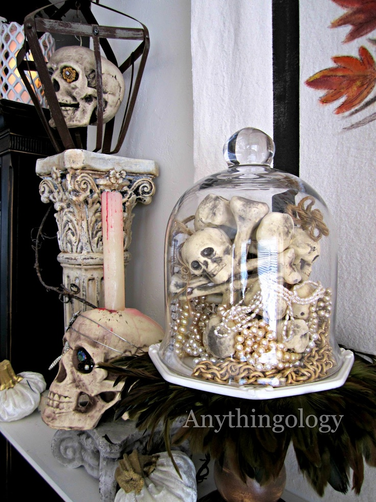 Anythingology - cloche with skeletons