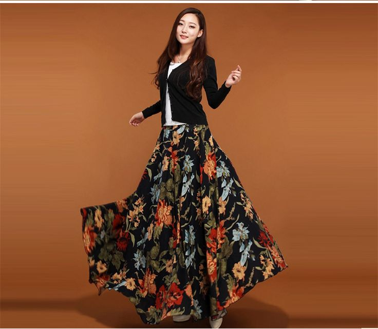 Vintage Pleated Printed Ball Gown Maxi Skirt 80-100cm Long Skirts Women Tutu Skirt A-Line Linen Floor Long Print Skirt ** AliExpress Affiliate's buyable pin. Click the image to visit www.aliexpress.com
