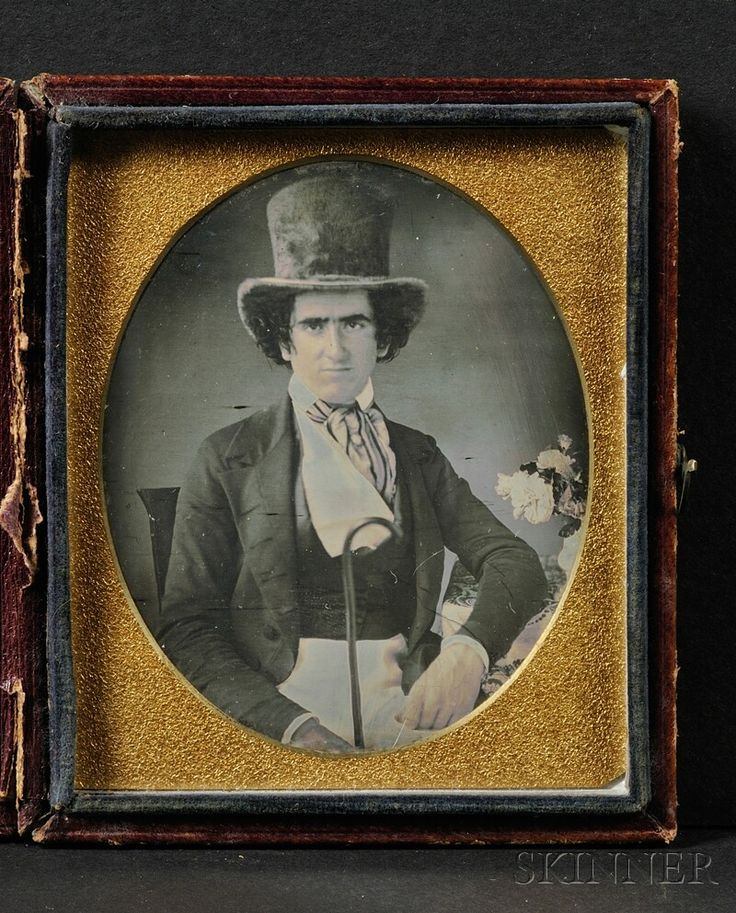 Sixth Plate Daguerreotype Portrait of a Seated Young Man Wearing a Top Hat | Sale Number 2567B, Lot Number 4 | Skinner Auctioneers
