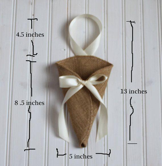 Khaki burlap pew cone decoration / rustic by NutfieldWeaver