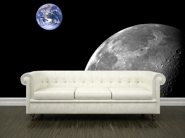 Moon and earth wall mural murals wall murals and earth for Earth rising wall mural