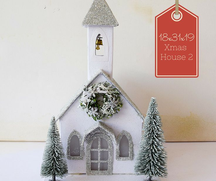 Silver and White Glitter Church at Irene and Nicki Crafts!