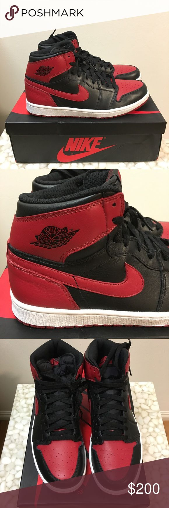 Nike Air Jordan AJ 1 OG Bred Brand new and comes with an extra set of lace. The very first Air Jordan. Believe that this is an UA version but looks 100% legit. Bad purchase form ebay. Jordan Shoes Athletic Shoes