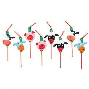 Een pakje met 8 rietjes met decoraties in het altijd leuke thema boerderij. kinderfeestje boerderij-versiering