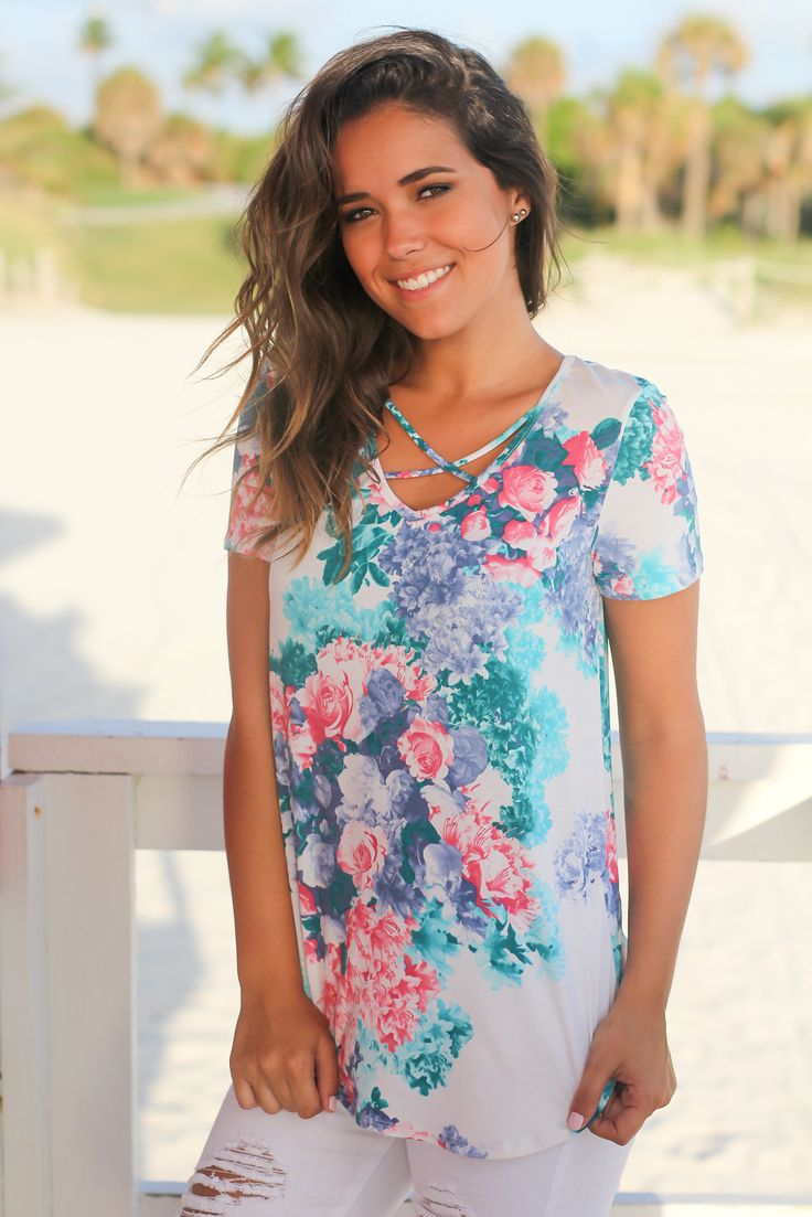 White Floral Criss Cross Top