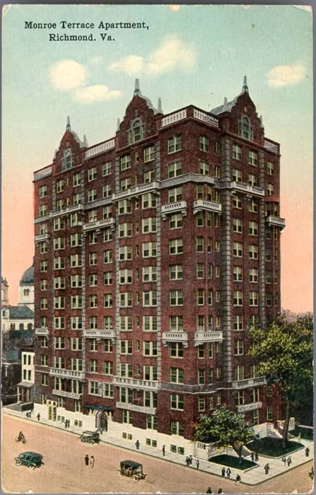 """Vintage VCU- """"Monroe Terrace Apartments""""        Now known to be Johnson Hall at VCU, the original Monroe Terrace Apartments were marketed to be """"present of every feature- comfort and elegance.""""     From VCU Library's Rarely Seen Richmond vintage postcard series."""
