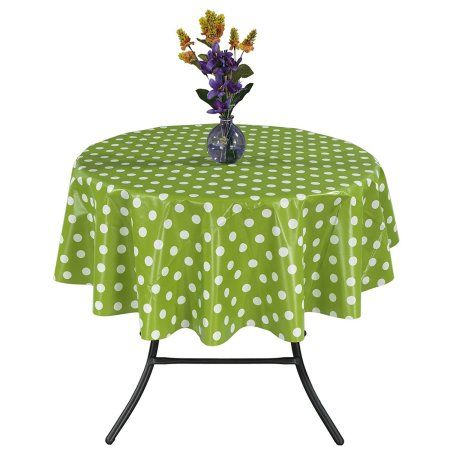 Ottomanson Vinyl Polka Dot Design 55 inch Round Indoor & Outdoor Tablecloth Non-Woven Backing, Green