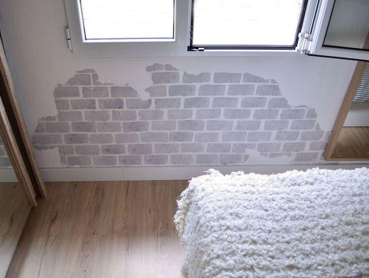 Pared con humedad pintada con efecto ladrillo pared - Pintar paredes con humedad ...