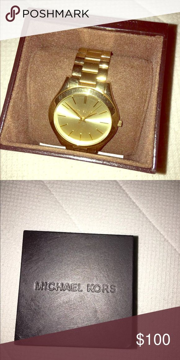 Michael Kors Gold Watch Purchased but never worn. Real gold! KORS Michael Kors Jewelry