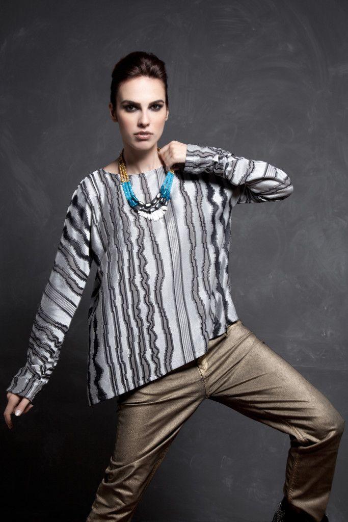 SARTORIAL   Chryssomally    Art & Fashion Designer - Silver knitted asymmetrical blouse