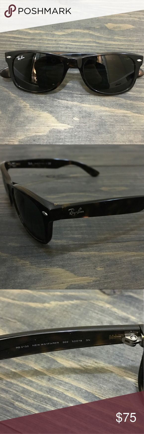 """Ray-Ban Wayfarer Sunglasses Tortoise frame glasses size 52-18. Light 1/2"""" scratch on the left lens and 1/4"""" scratch on the frame next to it -see photo 5. On the arms by the ear there is slight wear. I am being honest- glasses are in good condition but do have scuffing on the frame. I've tried to take photos to show it. AUTHENTIC! Cleaning cloth and case included. Case threading had come undone in one corner but is still useable and holds glasses.  Request more photos if you want to see…"""