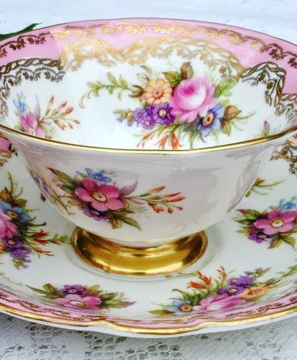 gold rimmed pink rose bone china teacup & saucer