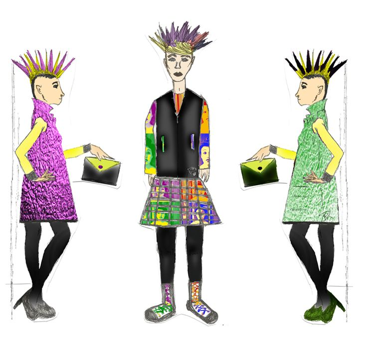 Punks and Pop !  Diseños basados en la vestimenta de la subcultura punk con unas pequeñas pincelados del Pop Art iniciado por Andy Warhol en los años 90