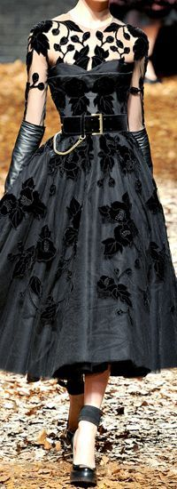 Bridesmaid inspiration  Alexander McQueen: New Look silhouette and lace overlay, wallet chain and leather gloves. Perfection