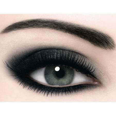Black Eyeliner + Black Eye shadow apply heavily just on top and bottom line of eyes. use silver eye shadow over base and underneath eye.