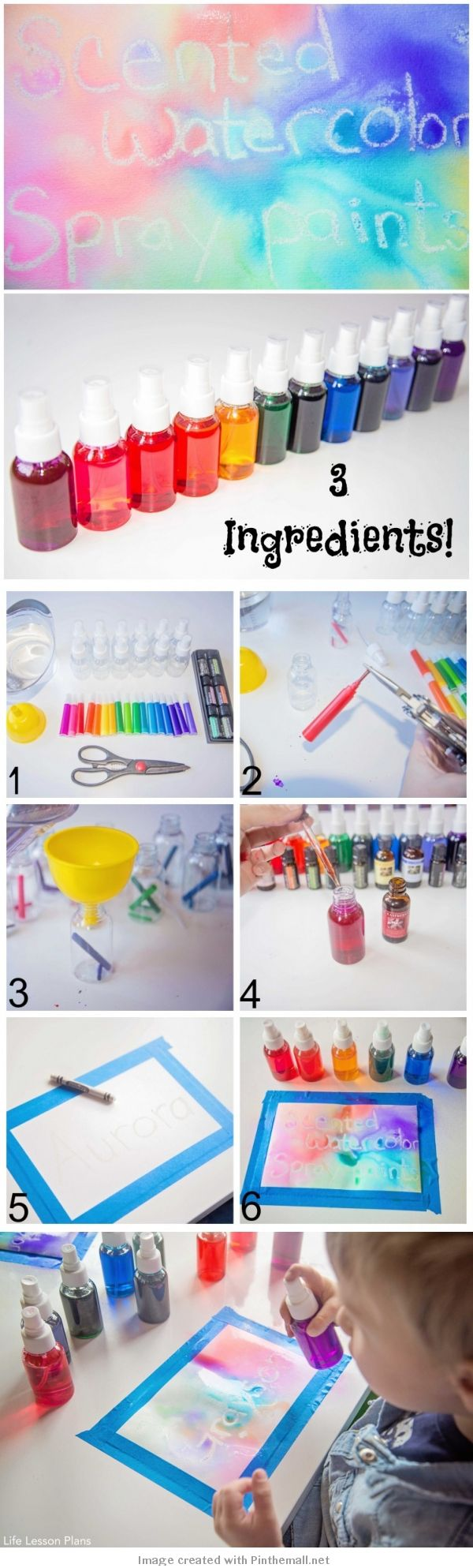 Scented Watercolor Spray Paints - I love making homemade art supplies! We go through them so quickly that it has become a much more economical option for us. There are so many fun materials we want to try, so it has been really interesting learning how to make our own. This morning we added scented liquid watercolors to our repertoire of DIY art materials!