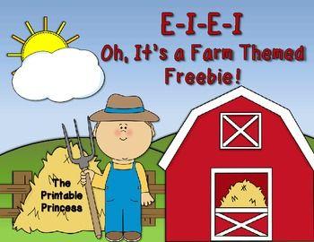 E-I-E-I Oh, It's a Farm Themed Freebie (Kindergarten & 1st; from the Printable Princess)