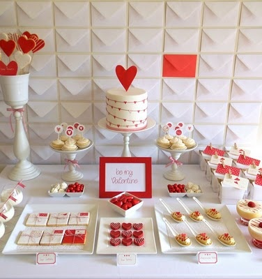 Valentine's table: love the envelope wall