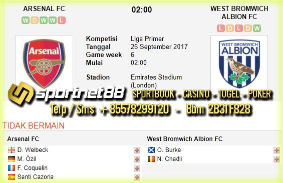 Prediksi Skor Bola Arsenal vs West Bromwich Albion 26 Sep 2017 Liga Inggris di Emirates Stadium (London) pada hari Selasa jam 02:00 live di beIn Sport 1