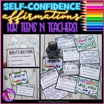 Self-confidence affirmation cards for teachers and teens - color in, reflect and really believe with these 10 coloring affirmation cards! Self-confidence is a fundamental factor in success and many of our youth in this day and age are lacking that self-belief they can succeed.