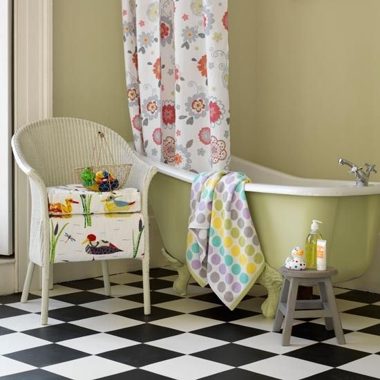 Bright patterned bathroom