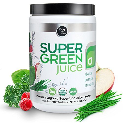 Super Green Juice - USDA Organic Superfood Powder Supplement to Alkalize Detox Energize