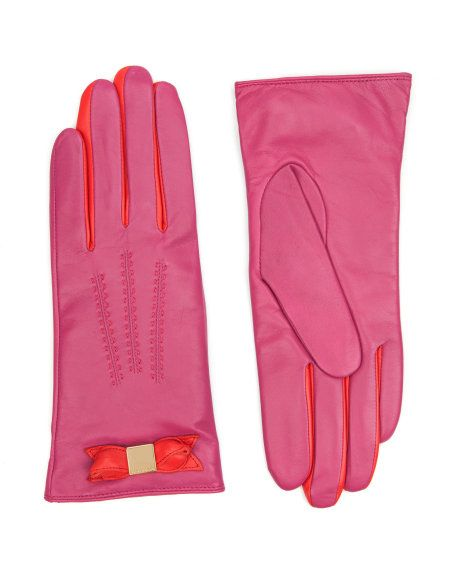 BOWTER - Bow leather glove - Deep Pink | Womens | Ted Baker UK
