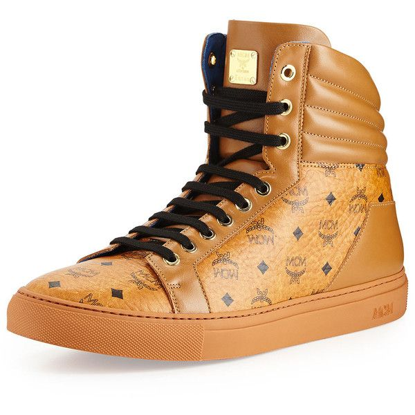 MCM Monogrammed High-Top Sneaker ($550) ❤ liked on Polyvore featuring shoes, sneakers, red, leather sneakers, lace up high top sneakers, leather high tops, mcm sneakers and red high top shoes