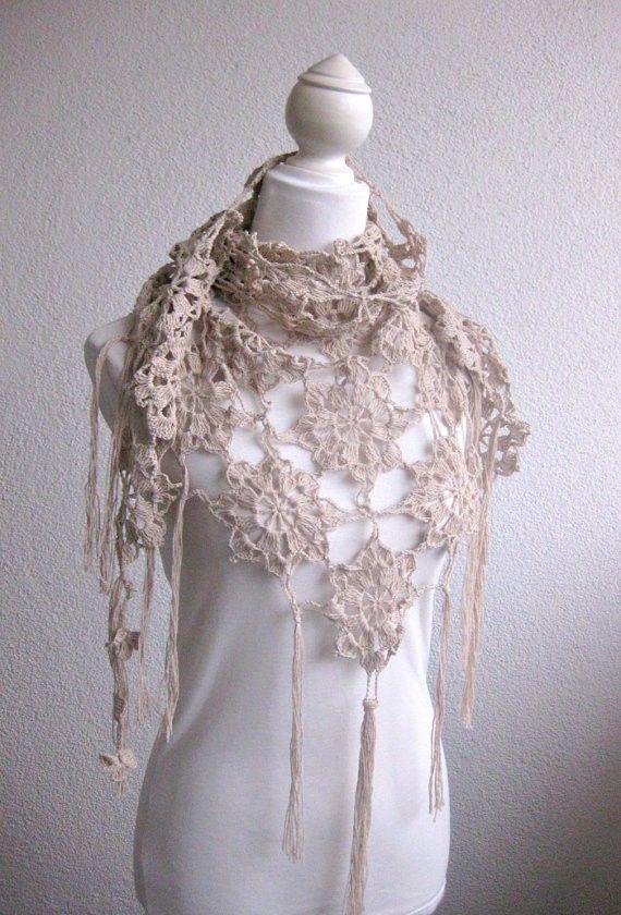 PDF CROCHET PATTERN pattern for scarf shawl Beige by Iovelycrochet