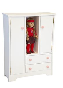 Wooden Deluxe Doll Wardrobe for American Girl Doll Select, sort and store doll clothes on the solid wood shelves.