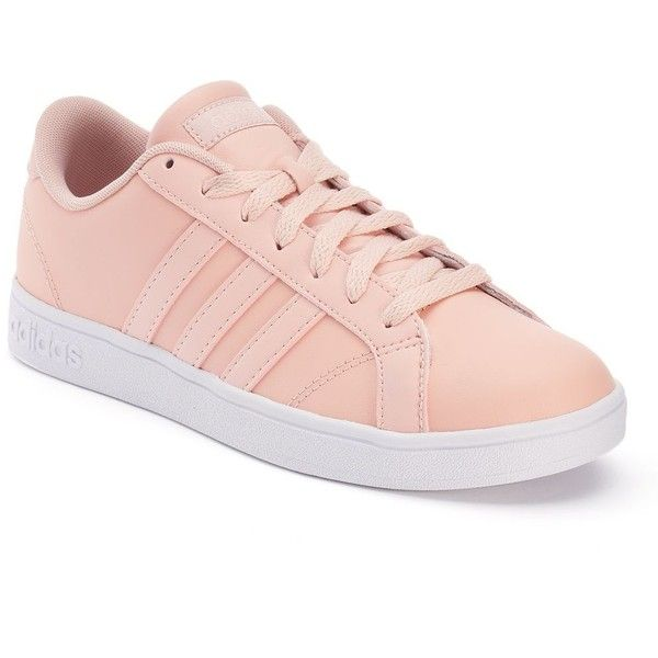 Adidas Baseline Women's Leather Sneakers ($60) ❤ liked on Polyvore featuring shoes, sneakers, light pink, lacing sneakers, leather trainers, adidas, adidas shoes and light pink shoes