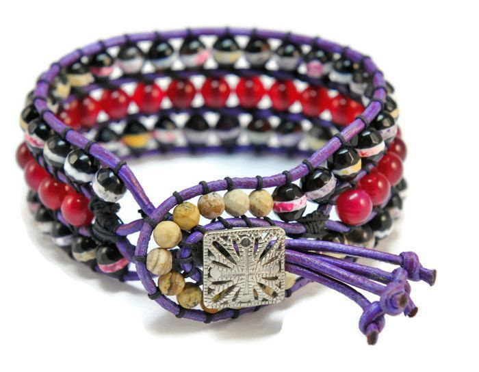 Fantasy * Agate Mix Single 3 Strand Boho Style Cuff Bracelet on Purple Colored Leather with vintage Button Closure