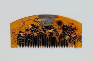 Month geese Akikusa pattern Makie tortoiseshell comb _ sheep 遊斎 [Edo later…