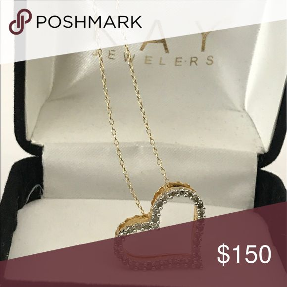Kay Jeweler Diamond Heart Necklace 💗Genuine real round brilliant diamonds set in yellow tone sterling silver. Lays beautifully on a sterling silver 17.5 inch chain. NWOT💗absolutely gorgeous💗 Kay Jewelers Jewelry Necklaces