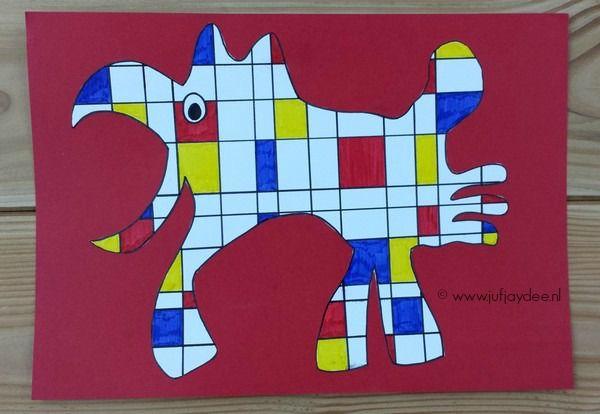 Fantasiedier - in de stijl van Mondriaan www.jufjaydee.nl