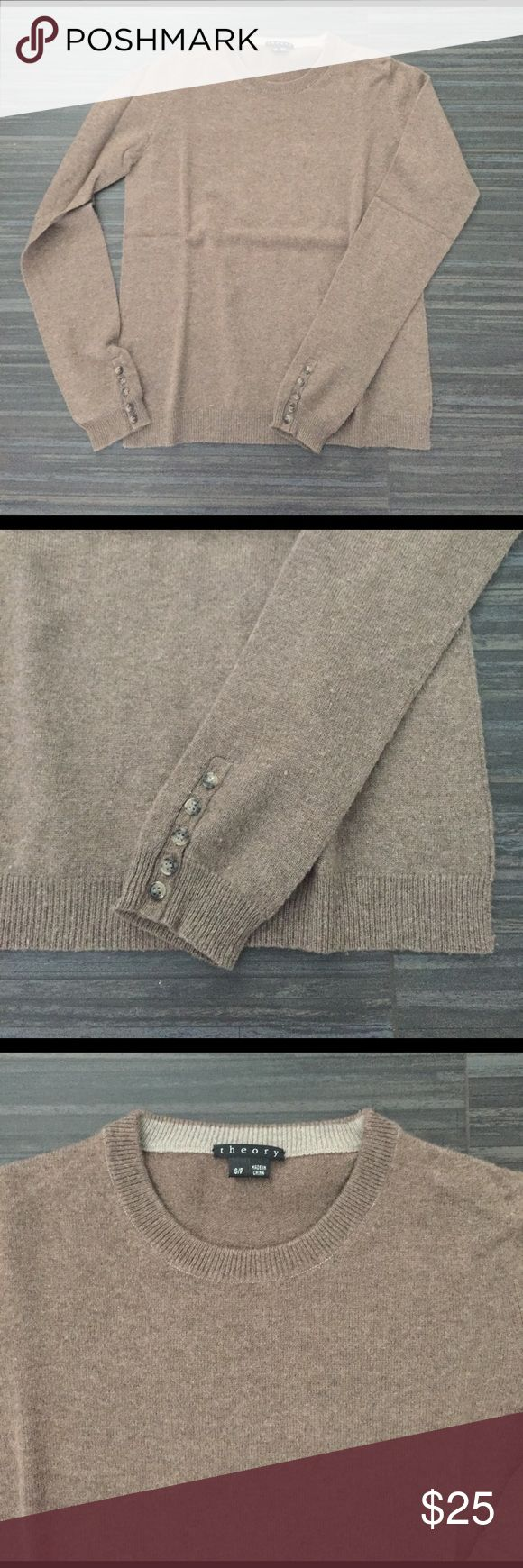 Theory Women's Cashmere Sweater Crew neck, long sleeves w/ button detail. Fitted. Heathered brown soft Cashmere. No pilling, like new! Theory Sweaters Crew & Scoop Necks