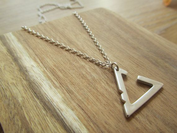 Unisex silver triangle necklace-Nautical chain-Geometric